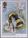 Insects 17p Stamp (1985) Bombus terrestris (bee)