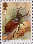Insects 31p Stamp (1985) Lucanus cervus (stag beetle)