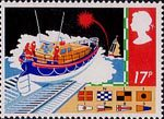 Safety at Sea 17p Stamp (1985) R.N.L.I. Lifeboat and Signal Flares