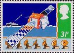 Safety at Sea 31p Stamp (1985) 'Marecs A' Communications Satellite and Disk Aerials