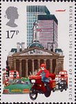 350 Years of Royal Mail Public Postal Service 17p Stamp (1985) Datapost Motorcyclist, City of London