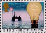 Industry Year 17p Stamp (1986) Light Bulb and North Sea Oil Drilling Rig (Energy)