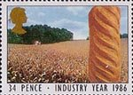 Industry Year 34p Stamp (1986) Loaf of Bread and Cornfield (Agriculture)