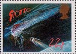 Halley's Comet 22p Stamp (1986) Giotto Spacecraft approaching Comet