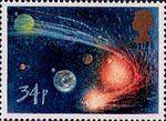 Halley's Comet 34p Stamp (1986) Comet orbiting Sun and Planets