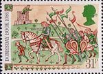 Medieval Life 31p Stamp (1986) Knight and Retainers