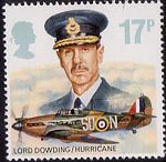 The Royal Air Force 17p Stamp (1986) Lord Dowding and Hawker Hurricane Mk. I