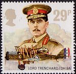 The Royal Air Force 29p Stamp (1986) Lord trenchard and De havilland D.H. 9A