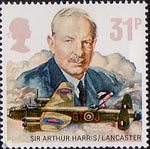 The Royal Air Force 31p Stamp (1986) Sir Arthur Harris and Avro Type 683 Lancaster