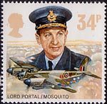 The Royal Air Force 34p Stamp (1986) Lord Portal and De havilland D.H. 98 Mosquito