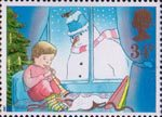 Christmas 1987 34p Stamp (1987) Child playing Flute and Snowman