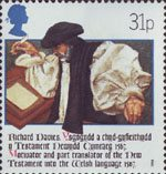 The Welsh Bible 1588-1988 31p Stamp (1988) Bishop Richard Davies (New Testament translator, 1567)