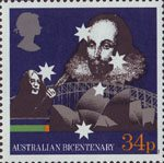 The Australian Bicentenary 34p Stamp (1988) Shakespeare, John Lennon (entertainer) and Sydney Landmarks