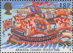 The Armada 1588 18p Stamp (1988) Spanish Galeasse off The Lizard