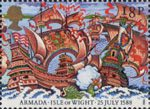 The Armada 1588 18p Stamp (1988) Engagement off Isle of Wight