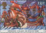 The Armada 1588 18p Stamp (1988) Attack of English Fire-ships, Calais