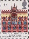 Europa and 'Glasgow 1990 European City of Culture' 37p Stamp (1990) Templeton Carpet Factory, Glasgow
