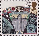 Astronomy 22p Stamp (1990) Armagh Observatory, Jodrell Bank Radio Telescope and La Palma Telescope