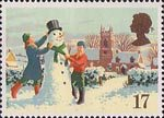 Christmas 1990 17p Stamp (1990) Building a Snowman
