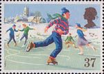 Christmas 1990 37p Stamp (1990) Ice-skating