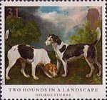 Dogs 31p Stamp (1991) 'Two Hounds in a Landscape'