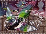 Greetings Booklet Stamps 'Good Luck' 1st Stamp (1991) Magpies and Charm Bracelet