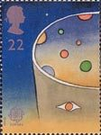 Europa. Europe in Space 22p Stamp (1991) Man looking at Space