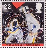 World Student Games, Sheffield and World Cup Rugby Championship, London 22p Stamp (1991) Fencing
