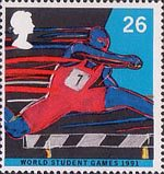 World Student Games, Sheffield and World Cup Rugby Championship, London 26p Stamp (1991) Hurdling