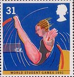 World Student Games, Sheffield and World Cup Rugby Championship, London 31p Stamp (1991) Diving