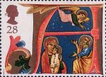 Christmas 28p Stamp (1991) Holy Family and Angel