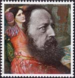 Death Centenary of Alfred, Lord Tennyson (poet) 33p Stamp (1992) Tennyson in 1864 and I am Sick of the Shadows (John Waterhouse)