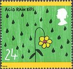 The Green Issue 24p Stamp (1992) Acid Rain Kills