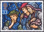 Christmas. Stained Glass Windows 33p Stamp (1992) Shepherds, All Saints, Porthcawl