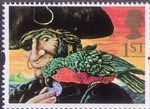 Greetings - Giving 1st Stamp (1993) Long John Silver and Parrot (Treasure Island)