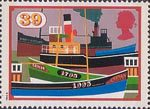 Inland Waterways 39p Stamp (1993) Steam bridges including Pride of Scotland and Fishing Boats, Crinan Canal