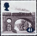 The Age of Steam 41p Stamp (1994) Class Castle No. 7002 Devizes Castle on Bridge crossing Worcester and Birmingham Canal