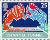 Opening of Channel Tunnel 25p Stamp (1994) British Lion and French Cokerel over Tunnel