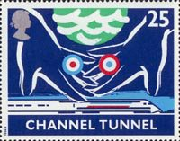 Opening of Channel Tunnel 25p Stamp (1994) Symbolic Hands over Train