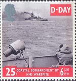 50th Anniversary of D-Day 25p Stamp (1994) H.M.S. Warspite (Battleship) shelling Enemy Positions