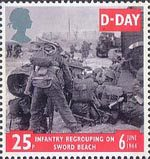 50th Anniversary of D-Day 25p Stamp (1994) Infantry regrouping on Sword Beach