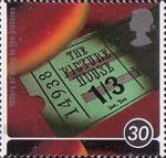 100 Years of going to the pictures - A Cinema Celebration 30p Stamp (1996) Old Cinema Ticket