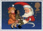 Christmas 1997 2nd Stamp (1997) Children and Father Christmas pulling Cracker