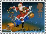 Christmas 1997 31p Stamp (1997) Father Christmas riding Cracker
