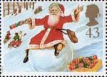 Christmas 1997 43p Stamp (1997) Father Christmas on Snowball