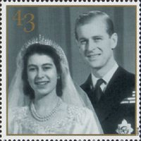 The Golden Wedding Anniversary 1947-1997 43p Stamp (1997) Wedding Photograph, 1947