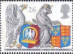 The Queens Beasts 26p Stamp (1998) Falcon of Plantagenet and Bull of Clarence