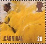 Carnival 20p Stamp (1998) Woman in Yellow Feathered Costume
