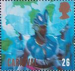 Carnival 26p Stamp (1998) Woman in Blue Costume and Headdress