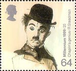 Millennium Series. The Entertainers' Tale 64p Stamp (1999) Charlie Chaplin (film star) ('Cinema')